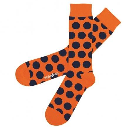 jolie-chaussettes-colorées-orange-à-pois-psycho-tandoori