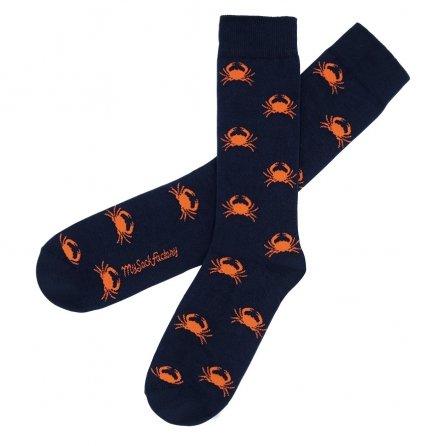jolies-chaussettes-bleues-motifs-crabe-orange-sac-de-crabe